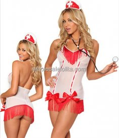 Sheer White and Red Halter Backless Sexy Nurse Costume