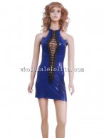 Sexy Blue Front Cut Out Laceup Latex Mini Club Dress