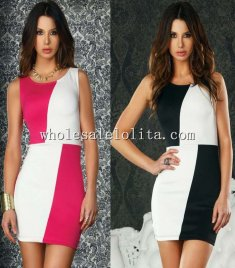 Patchwork Bodycon Sleeveless One-Piece Club Dress