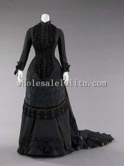 1880s Black Beadwork Train Victorian Bustle Dinner Dress