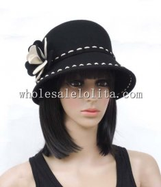 Two Tones Wool Flower British Women's Cloche Hat