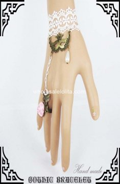 White Lace Bronze Costume Ball Mask Pink Rose Bracelet & Ring