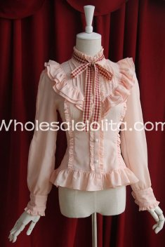 Ladies Pink Chiffon Stand Collar Long Sleeves Ruffled Lolita Blouse