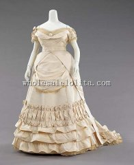 Luxurious Silk 1872s French Early Bustle Victorian Ball Gown