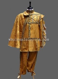 Noble Gold Jacquard Satin Venice Carnival Costume Perfomance Clothing for Men