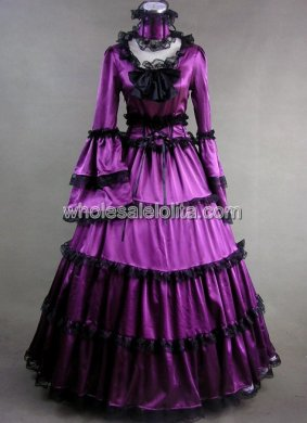 Cosplay Purple Long Trumpet Sleeves Gothic Victorian Dress Halloween Party Gown