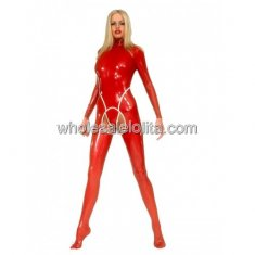 Hot Sexy Red Latex Catsuit for Women with Open Crotch