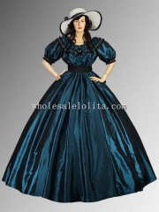 19th Century Blue/Green Civil War Wide Dress Ball Gown with Wide Skirt Multiple Colors Available