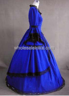 18th Century Georgian Colonial Gown Prom Dress Reproduction Renaissance Faire Costume BLUE