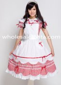 Lovely White And Red Short Sleeves Sweet Lolita Dress