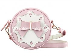 Sweet Pink Cut Out Heart Bow Circle Mini Sweet Lolita Bag