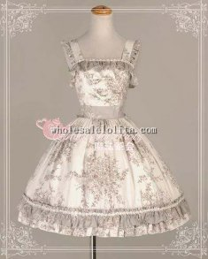 Elegant Floral Printing Cotton Tea Party JSK Sweet Lolita