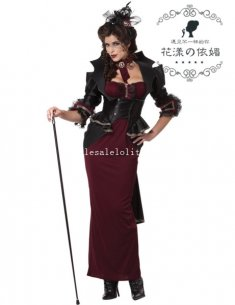 2014 New Adult Womens Vampire Halloween Costume Fancy Ball Long Dress