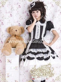 New Sweet Black Cotton Short Sleeves Layered Skirt OP Lolita Dress