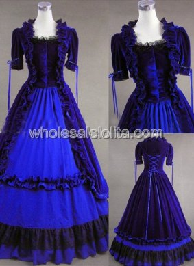Victorian Gothic Velvet Ball Gown Period Dress Reenactment Theatre Clothing DEEP BLUE