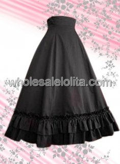 Black Long Cotton Lolita Skirt