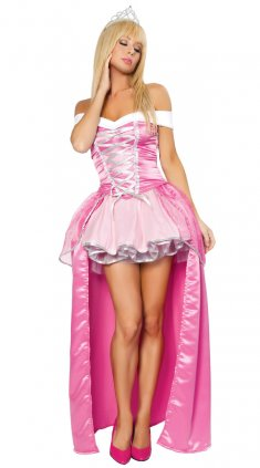 Pink Off-the-shoulder High Low Hemline Princess Costume