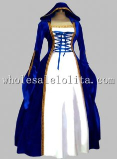 Gothic Blue and White Euro Court Princess Dress Witch Cosplay Costume