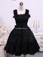 Cotton Black Ruffle Sweet Lolita Dress