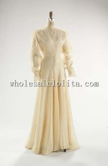 Custom Made 1930s American Cotton & Silk Beige Evening Dress