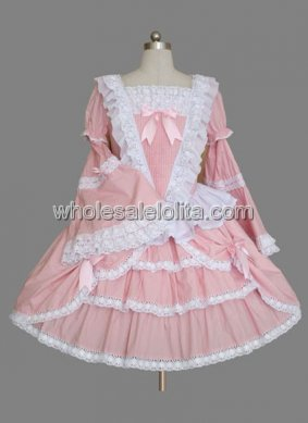 Pink Bell Sleeves Multilayer Cotton Sweet Lolita Dress