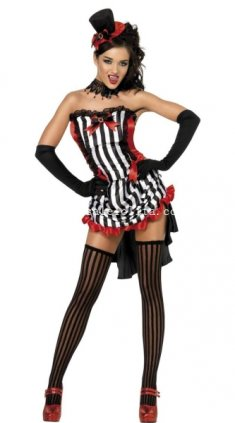 Gothic Vampire Halloween Costume Sexy Tuxedo Party Dress