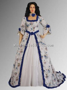 Custom Made Renaissance or Medieval Summer Dress Floral Print in Antoinette Style with Train
