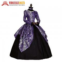 Victorian Gothic Fairy Princess Brocade Ball Gown Dress Reenactment Halloween Costume
