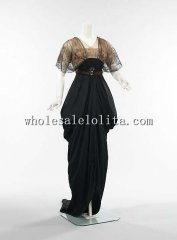 Early 1910s Silk High Waist Draping Dinner Dress