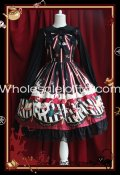 Black & Burgundy Dark Magic Party Printing Stripes JSK Lolita Dress
