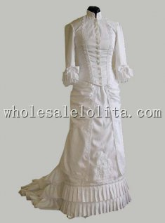 19th Century White Cotton Stand Collar Victorian Bustle Reenactment Dress
