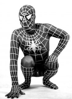 Black And White Spandex Spiderman Costume
