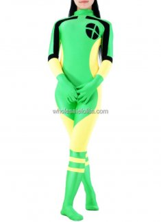 Green And Yellow Lycra Spandex Catsuit Zentai