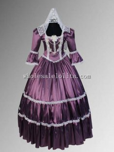 Renaissance or Victorian Style Handmade Dress Lace Satin with Choker Necklace Multiple Colors Available