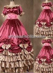 Luxury Watermelon Red Corset Civil War Southern Belle Dance Ball Gown Bridal Dress