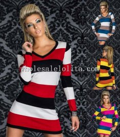 Simply V Neck Striped Long Sleeves Mini Dress