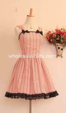 Pink Little Flower Classic Lolita Dress JSK with Bow