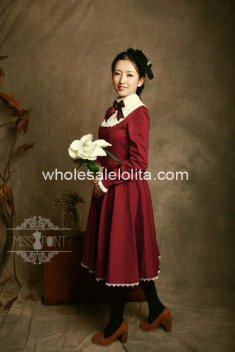 High-end Vintage High Collar Burgundy Cotton Classic Lolita Dress