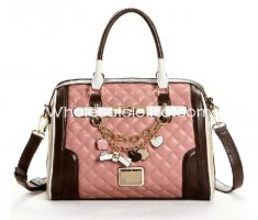 Fashion Contrast Color Messenger Bag Sweet Pink Ladies Totes Bag