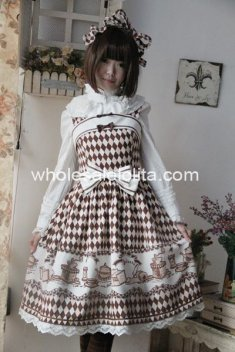 Beige Coffee Time Printing Cotton JSK Lolita Dress