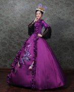 French Victorian Dress Purple Satin Period Dress Ball Gown