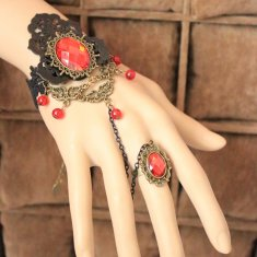 Vintage Lace Bracelet and Ring Red Diamond Bracelet
