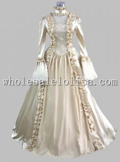 18th Century Beige Marie Antoinette Period Dress Renaissance Performance Clothing Cosplay Costume