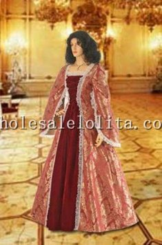 Custom Made Gold and Red Renaissance Dress Handmade from Brocade Baroque Damask & Velvet Gown