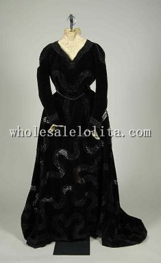 Historical Early 1900s Silk Edwardian Era Dinner Dress