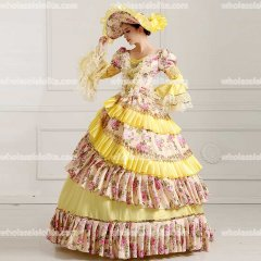 Rococo Style Marie Antoinette Inspired Prom Dress Wedding Ball Gown Yellow