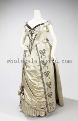 1880s French Culture Silk Exquisite Late Victorian Bustle Evening Dress
