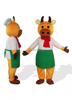 Red Scarf Cook Cattle Adult Plush Farm Animal Costumes