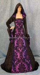 Gothic Black and Purple Medieval Dress Renaissance Dress Hooded Gown Pagan Gown Wiccan Gown