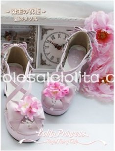 Princess Series Pink Summer Flower Chunky Heel Peep Toe Lolita Shoes Sandals